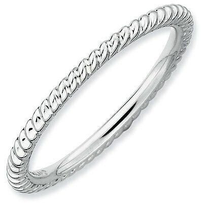 Sterling Silver Rhodium Plated 1.50 mm Stackable Twisted Ring, QSK175