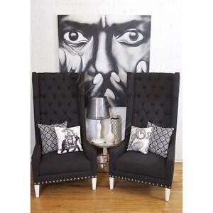 Dark-Grey-Tweed-Nailhead-Trim-High-Back-Wing-Chair