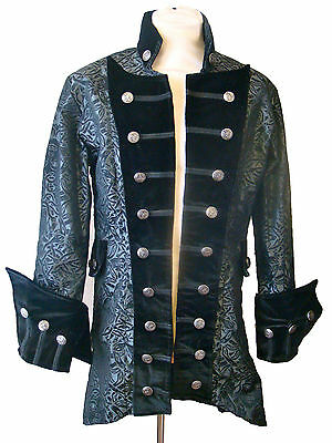 Steampunk Victorian jacket with brocade woven madusa print RF3