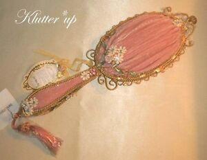 Victorian-Vintage-Chic-Shabby-Style-HAND-MIRROR-PINK-VELVET-OVAL-w-Tassel-12-034