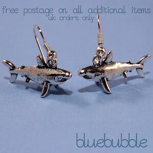 c2abbbfde FUNKY SHARK EARRINGS KITSCH FISH CHARM SURFER JAWS QUIRKY UNUSUAL ...