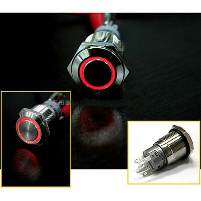 16mm 12V RED Led Angel Eye Push Button Metal Momentary Switch for Car Boats DIY