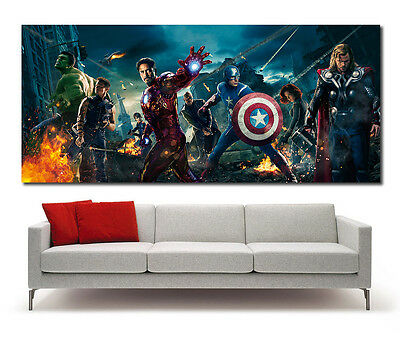 "Avengers Hi Quality Movie Poster XXL, Wall Art, 22x50"", Iron Man, Hulk, Marvel"
