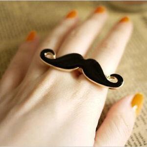 Wholesale-Lots-3-5-10PCS-Funny-Black-Moustache-Beard-Two-Finger-Double-Ring