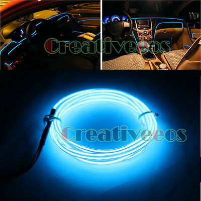 1M Blue Color 12V Car Charge Interior LED EL Wire Tupe Light Strip Line+ Drive