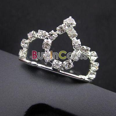 Fashion Jewelry Hair Tiara Mini Rhinestone Bridal Hair Crown Comb Pin SAUS