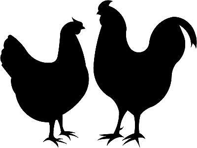"""Chicken & Rooster Decal 3.75""""x5"""" choose color!  vinyl sticker - #821"""