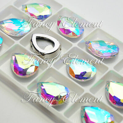 12 Rhinestone 4320 18x25mm Clear AB Sew On Foiled Crystal Teardrop Fancy Stone