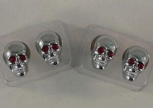 4-Metal-Chrome-034-Gem-Skull-034-License-Plate-Frame-Bolts-Custom-Tag-Lic-Fastener