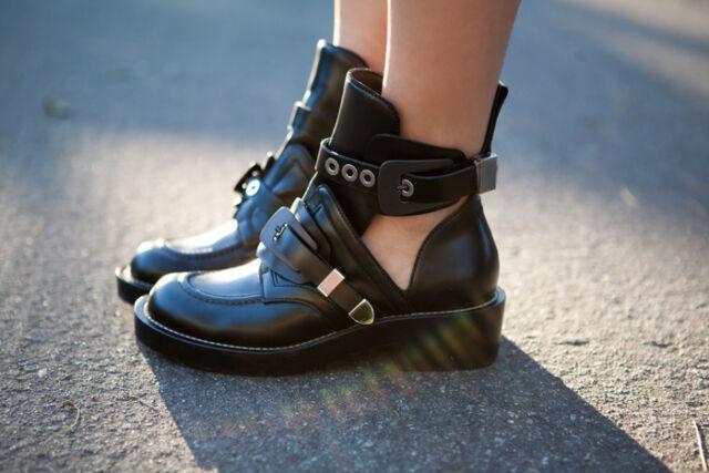 BALENCIAGA iconic cut out BLACK hardware buckle boot shoe 38.5 - LAST!