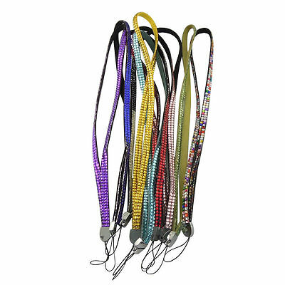 35160 Bling Rhinestone Cellphone Strap Cord Lanyard For ID Badge Card 10PCS