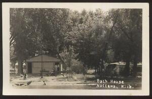 Real photo postcard nottawa michigan mi lake front bath for Bath house michigan