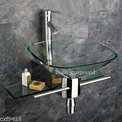bathroom vanity furniture clear square tempered glass bowl vessel sink faucet 05