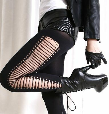False Crossing Laceup Strapy Gladiator Punk Rock emo Opaque Tights Pantyhose
