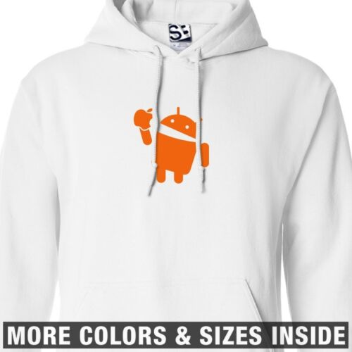All Sizes /& Colors Android Eats Apple HOODIE Hooded Takes A Bite Sweatshirt
