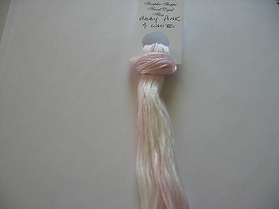 Over-dyed,embroidery floss, Baby Pink & White ,  20yards