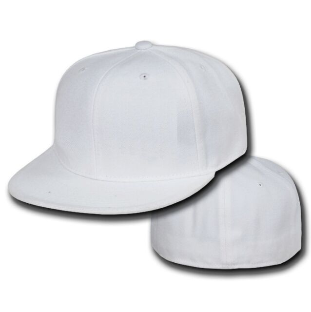 White Fitted Flat Bill Plain Solid Blank Baseball Ball Cap Caps Hat Hats 7 SIZES