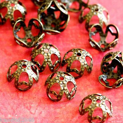 Top Quality 50pcs Antique Bronze Finish Flower Brass Bead Caps KK-B503-AB