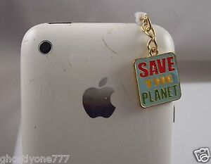 save-the-planet-green-dangle-cell-phone-or-fits-Ipad-charm-ear-cap-dust-plug