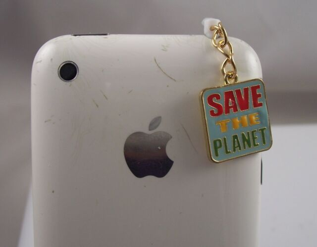 save the planet green dangle cell phone or fits  Ipad charm ear cap dust plug