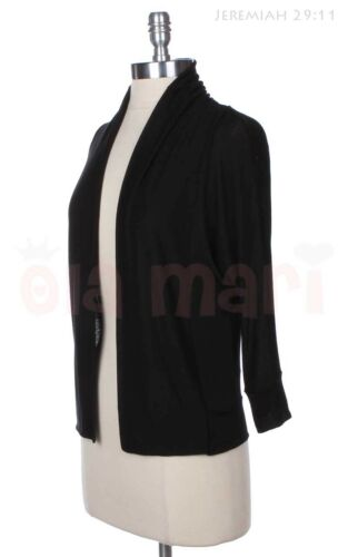 Cute 3//4 Sleeve Casual Solid Plain Open Front Cardigan Comfortable Easy Wear