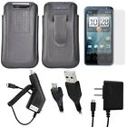 OEM Case Combo Bundle for Sprint HTC Evo Shift 6100 4G - Includes 5pc set: OEM HTC Sprint EVO Shift 6100 4G Leather Pouch Case w/Belt Clip (Black)+ Clear LCD Screen Protector + Rapid Car & Home Wall Travel Chargers + Micro-USB Data Cable