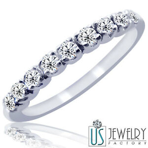 Pave-Set-H-SI-0-25-Carat-Diamond-Wedding-Anniversary-Band-Ring-10k-White-Gold