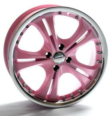 """17"""" RACING DYNAMICS BABY PINK ALLOY WHEELS AND TYRES BRAND NEW 4X108 ET35"""