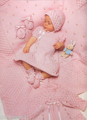 "Stunning baby rosebud Layette knitting pattern- fits 14-16"" chest in 4 ply wool"