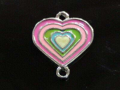10 x 21mm Enamel Heart Connector Charm Pendant Jewellery Pendant  E115