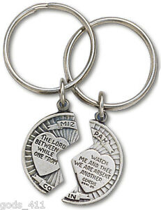 Mizpah-Split-Coin-Pewter-Keychain-with-Verse-034-The-Lord-Watch-Between-Me-amp-Thee-034
