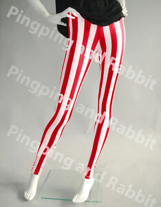 Red and White Vertical Stripes Mime Spandex Leggings Candy Cane ...