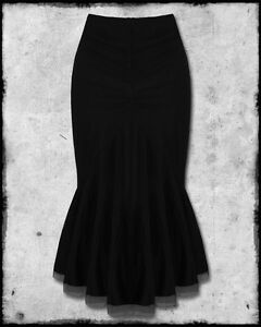 SPIN-DOCTOR-ARIANA-BLACK-STEAMPUNK-GOTH-MESH-VTG-VICTORIAN-FISHTAIL-PENCIL-SKIRT