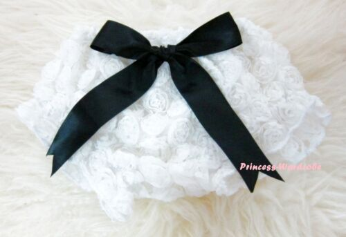Newborn Romantic Rose Print White Pantie Bloomer with Bow For Pettiskirt 6m-3Y