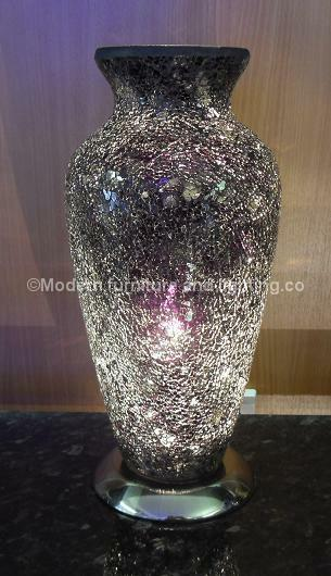 BLACK CRACKLE GLASS VASE TABLE LAMP, CRACKED GLASS EFFECT VASE TABLE LAMP,