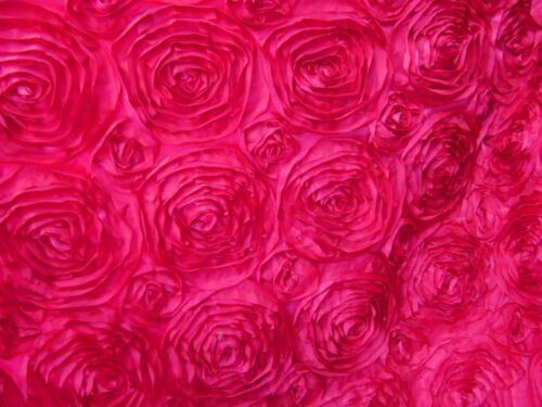 "10 Fuchsia 54""x54"" Rosette Rose Satin Table Overlays Fushia Tablecloths Wedding"