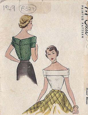 "1949 Vintage Sewing Pattern BLOUSE B34"" (R527)"