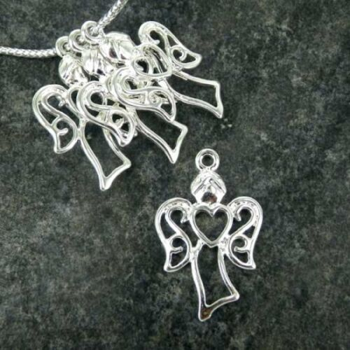 Angel Silver Plated Charm Pendants  Jewellery Making Bracelet Pk 10  CH20