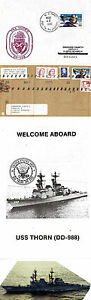 USS THORN DD 988 DESTROYER NAVAL CACHED COVER FRONT PIECE PHOTOGRAPH & BROCHURE