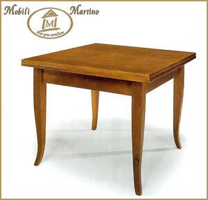 Tavolo quadrato a libro in legno arte povera noce 90x90 for Tavolo legno quadrato