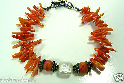 "GENUINE RED CORAL BRANCH SQUARE KEISHI PEARL STERLING SILVER TOGGLE BRACELET 8""L"