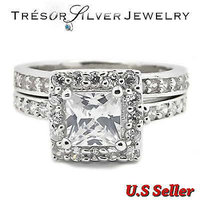 womens princess cut cz sterling silver wedding engagement ring size 5 6 7 8 9 10