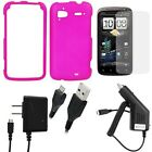 GTMax 5pc Accessory Bundle Kit for T-Mobile HTC Sensation 4G - Combo Set Includes: Hard Rubberized Snap On Cover Case (Hot Pink) + Clear LCD Screen Protector Film Guard + Rapid Car & Home Wall Chargers + Micro-USB Data Cable
