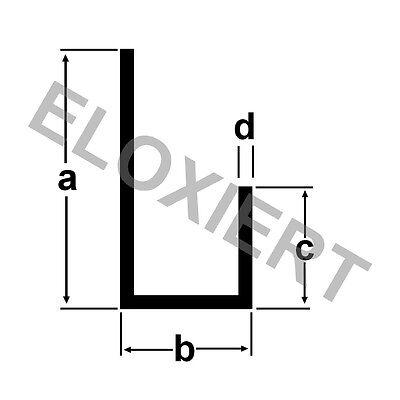 Alu U-Profil ungleich ELOXIERT 2 Meter E6/EV1 Aluprofil Aluminium