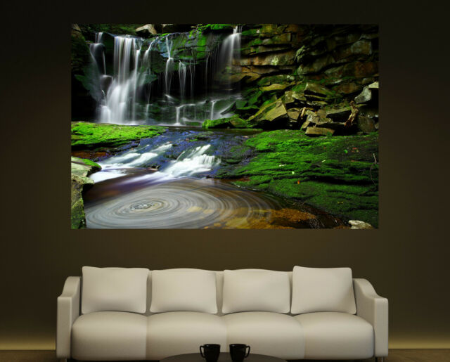 Canvas Giclee Prints Fine Art Waterfall Moss Rocks Photo Print Colorful 2