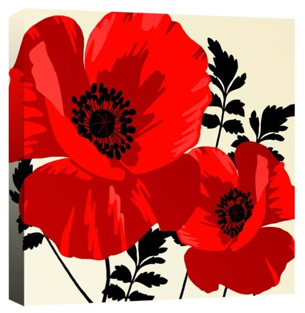 Large Red Poppy Flowers - Flower Floral Leaves Canvas Wall Art Print Picture