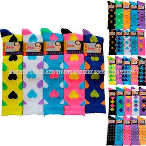 Lot-5-pairs-NEON-heart-stars-argyle-dots-womens-girls-Knee-high-socks