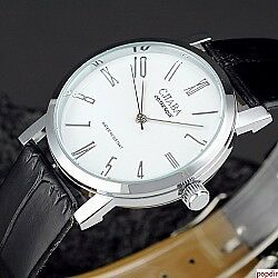 Unique-New-Ultra-Thin-Men-039-s-Women-Mechanical-Wrist-Watch-Leather-Band-Flat-Dial