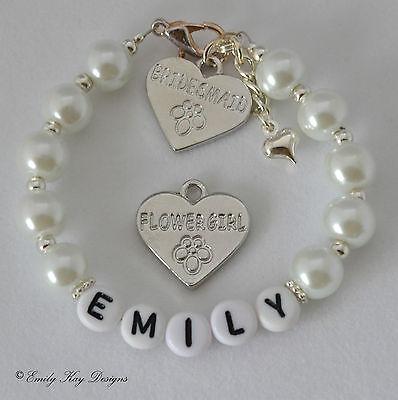 Personalised Bridesmaid / Flowergirl Charm Bracelet Wedding Favour Gift