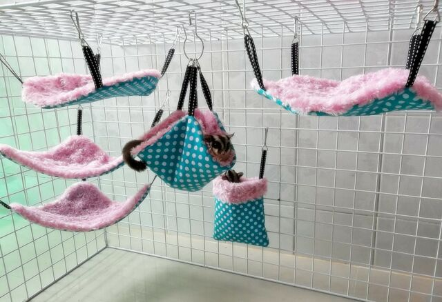 *SWEETY PINK* 6pc Sugar Glider-Rat Hanging FLUFFY Cage Set (warm+soft) washable